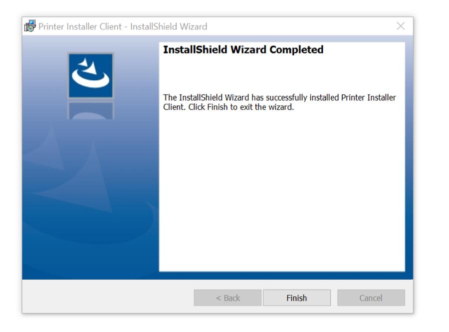 "A screenshot of Windows PC PrinterLogic installation prompt.  Please click ""Finish""."