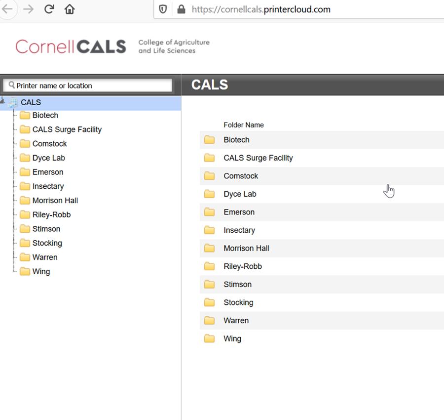 A screenshot of the printer list at https://cornellcals.printercloud.com/