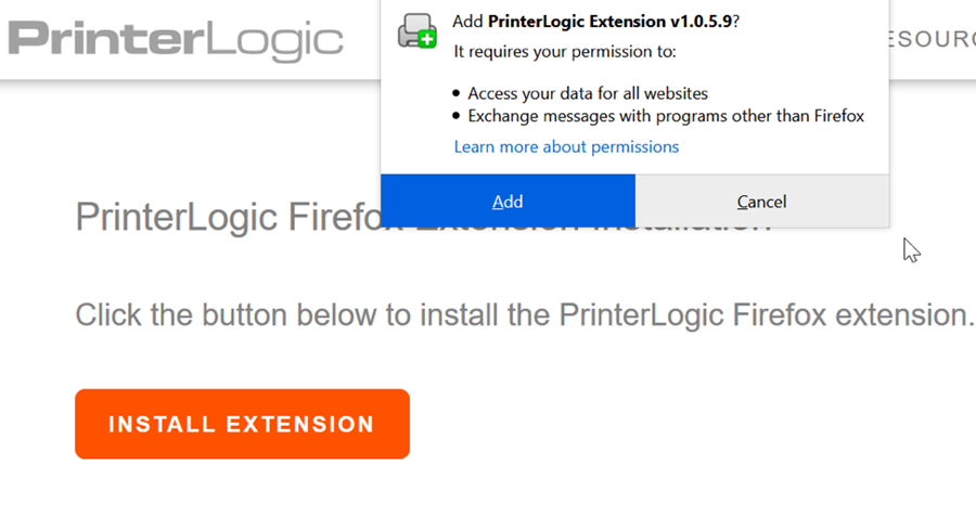 """A screenshot of the Firefox browser prompt to add the PrinterLogic extension.  Please click """"Add""""."""