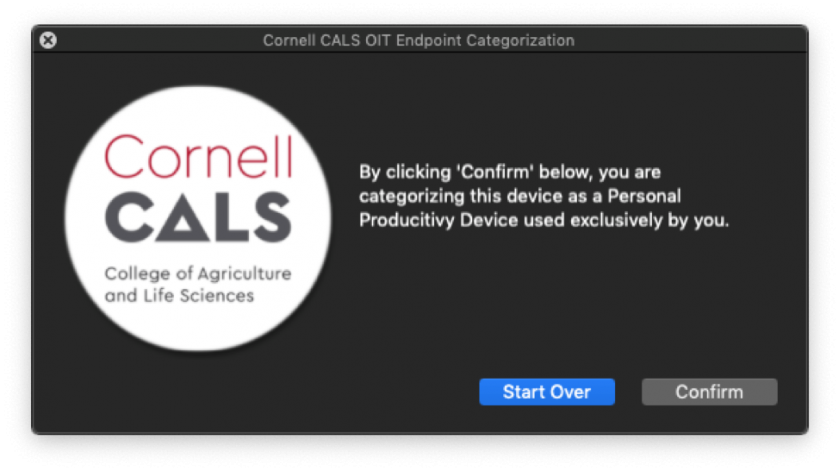 """Figure 10:  The prompt above is displayed if you answered """"Yes"""" on Figure 9.  Confirmation at this prompt lets us know your computer is used for Personal Productivity purposes."""