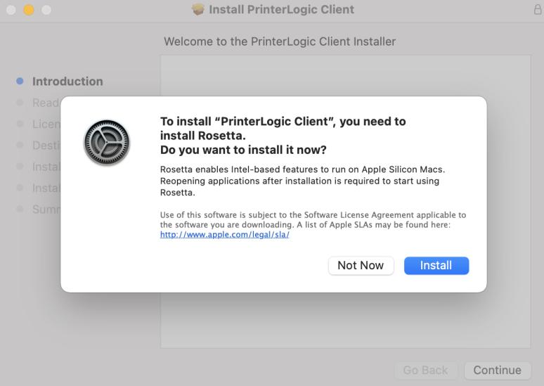 "A screenshot of Mac PrinterLogic installation window.  Please click ""Install""."