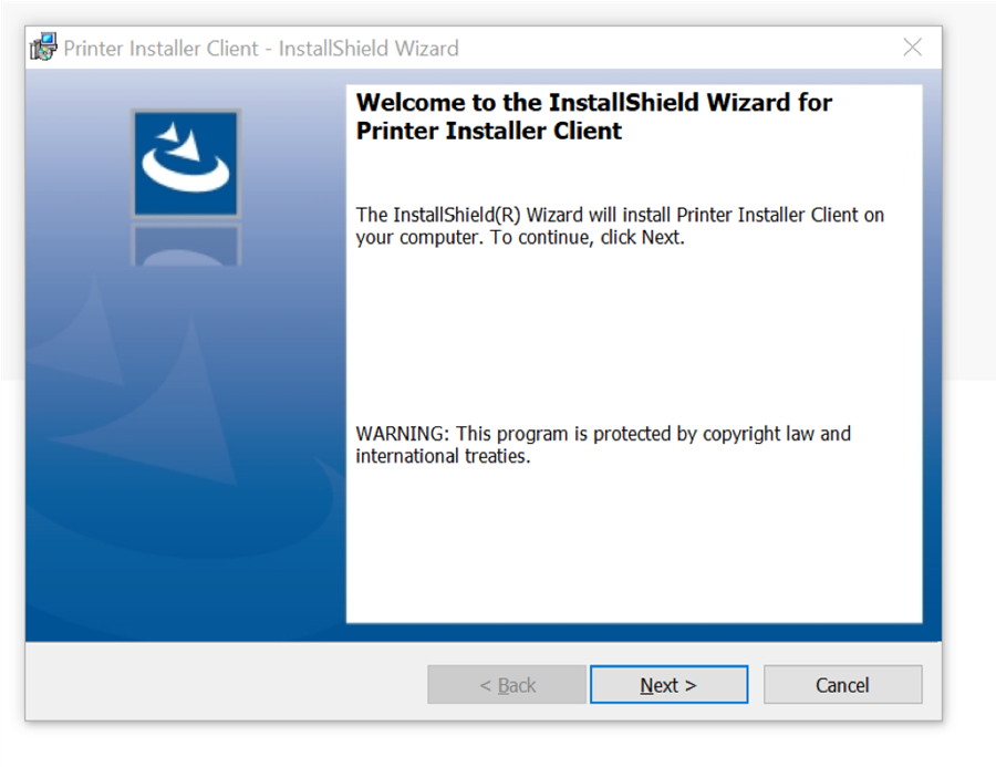 "A screenshot of Windows PC PrinterLogic installation window.  Please click ""Next""."