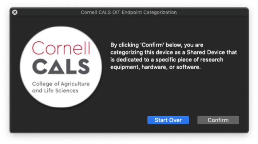 """Figure 13:  Selecting """"Yes"""" on Figure 12 presents the confirmation prompt above.  Selecting """"Confirm"""" here will classify your computer as a Shared Research Equipment Attached Device."""