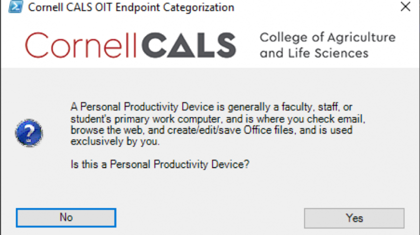 Figure 2:  Depending on your choice you will be presented with different prompts to complete the computer classification process.