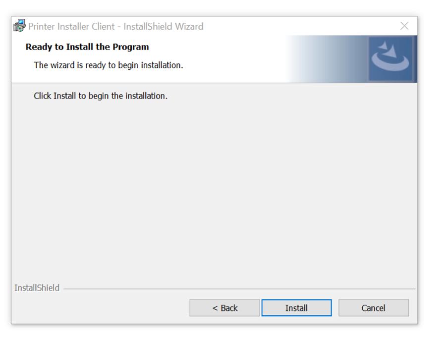 "A screenshot of Windows PC PrinterLogic installation prompt.  Please click ""Install""."