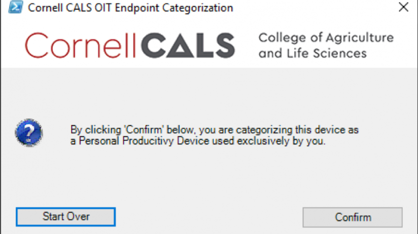"""Figure 3:  The prompt above is displayed if you answered """"Yes"""" on Figure 2.  Confirmation at this prompt lets us know your computer is used for Personal Productivity purposes."""