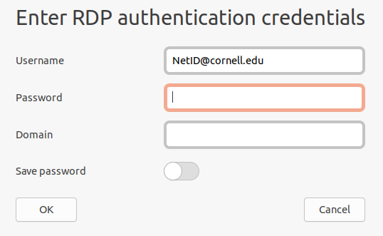"""Image of """"Enter RDP authentication credentials"""" window."""