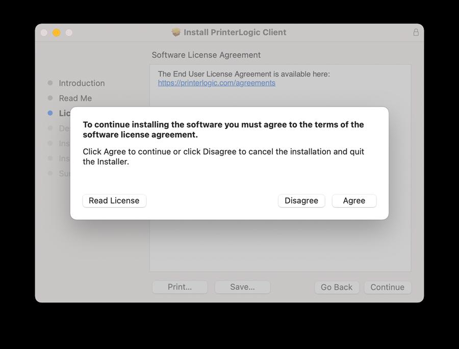 "A screenshot of Mac PrinterLogic installation window.  Please click ""Continue"" and ""Agree"".."