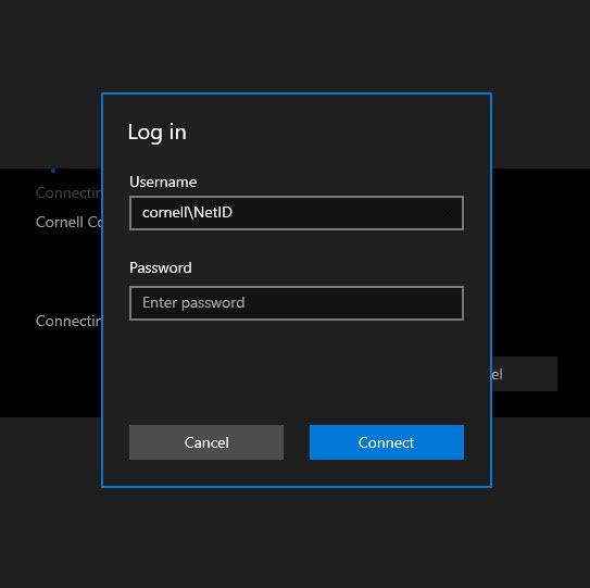 Image of Microsoft Remote Desktop app's log in prompt.