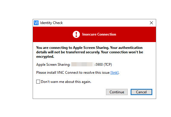 Image of VNC Viewer's Insecure Connection warning.