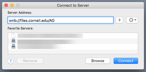 Image of Connect to Server dialogue.