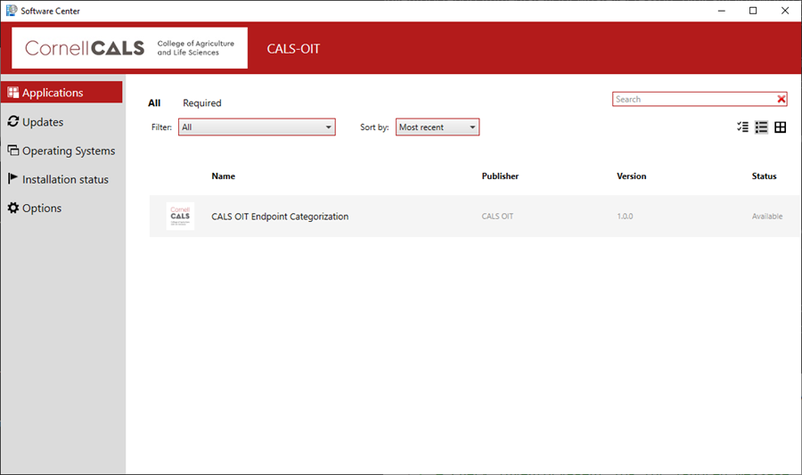 A screen capture asking the user to click on CALS OIT Endpoint Categorizationin Applications.