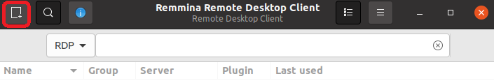 Image of Reminna Window. Please click New connection profile button on the left top.