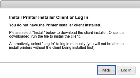 """A screenshot of web browser prompt to install the PrinterLogic Installer Client.  Please click """"Install""""."""