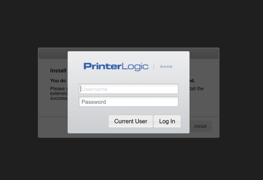 "A screenshot of PrinterLogic webpage login.  Please select ""Current User""."