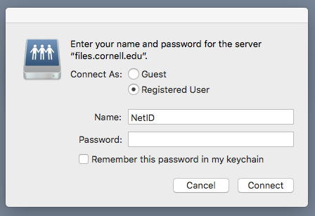 Image of Connect to Server credential entry dialogue.