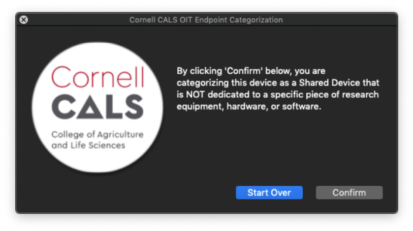 """Figure 14:  Selecting """"No"""" on Figure 12 presents the confirmation prompt above.  Selecting """"Confirm"""" here will classify your computer as a Shared Device."""