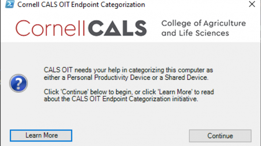 screen capture of a sharepoint prompt that asks user to learn more or continue