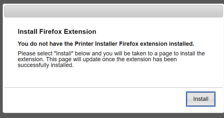 "A screenshot of ""Install Firefox Extension"" browser pop-up.  Please click ""Install""."
