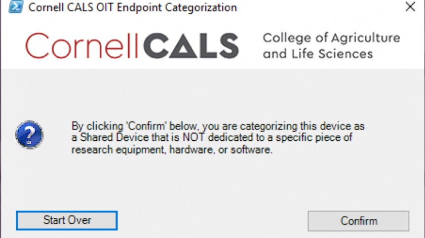 """Figure 7: Selecting """"No"""" on Figure 5 presents the confirmation prompt above.  Selecting """"Confirm"""" here will classify your computer as a Shared Device."""