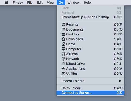 Image of macOS's Finder menu.